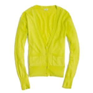 J.CREW Neon Yellow Cardigan Light Size Small